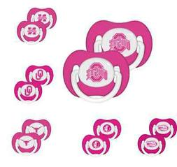 NCAA Football Logo College PINK Baby Pacifier 2-Pack - New -