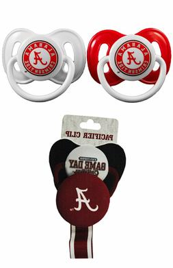 NCAA Pacifier Clip with 2 pack Team Color Infant, Baby Pacif