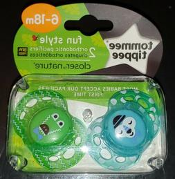 NEW 2 Pacifiers Tommee Tippee 6-18 Months Blue Green Fun Sty