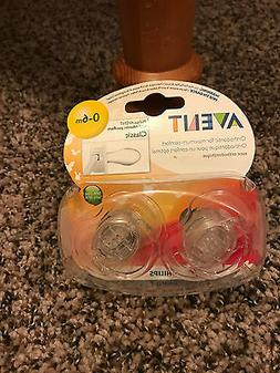 NEW - Philips AVENT 0-6m Translucent Pacifier 2-Pack 0 - 6 m
