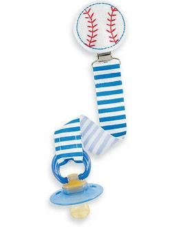 New MUD PIE Baby Boy PACIFIER PACY CLIP Embroidered Felt Rib