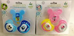 New Disney Baby Pacifiers and Holders Mickey Mouse Minnie Mo