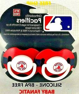 NEW! Boston Red Sox Baby Pacifiers 2-Pk MLB Baby Fanatics Or