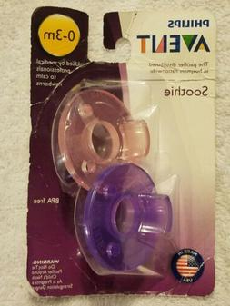 New Philips Avent BPA Free Soothie Pacifier 0-3 Months Pink/