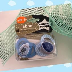 New Tommee Tippee Moda Boys Pacifiers Set Of 2 6-18m