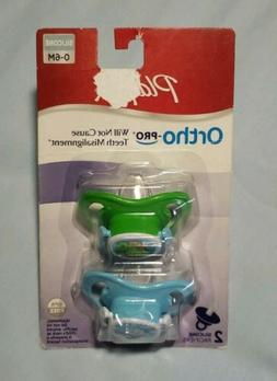 New Playtex Ortho Pro Baby Silicone Pacifiers 2 Pack 0-6 Mon