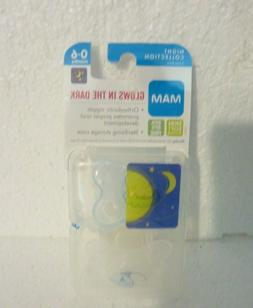 New Sealed MAM Glow In The Dark Night Time Pacifiers 2 Pack
