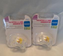 MAM newborn silicone pacifiers BPA & BPS free set of 2 new