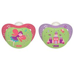 NUK Night Glow Glow in the Dark Pacifiers, Girl, 6-18 Months