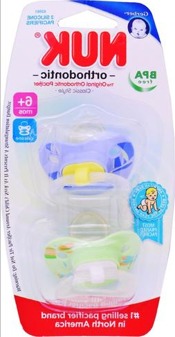 NUK Orthodontic 2 Silicone Pacifiers 6+ Months BPA FREE Boy