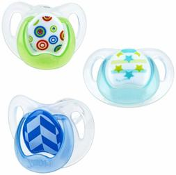 Nuby Orthodontic 3 Piece Pacifiers with Soothing Soft Bristl