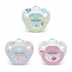 NUK Orthodontic Pacifier Value Pack, Girl, 0-6 Months, 3-Pac
