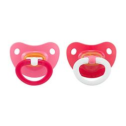 NUK 2-Piece Latex Orthodontic Pacifiers, Girl, 18-36 Month
