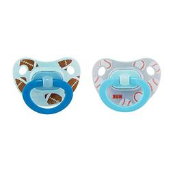 NUK 2-Piece Sports Orthodontic Pacifiers, Boy, 0-6 Months