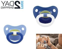 NUK 2-Piece Latex Orthodontic Pacifiers, Boy, 0-6 Months