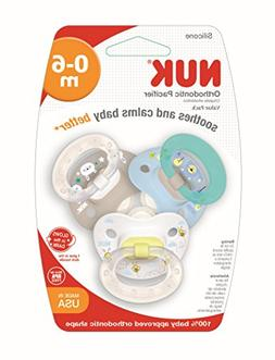 NUK Orthodontic Pacifiers, 0-6 Months, Boy, 3 pk