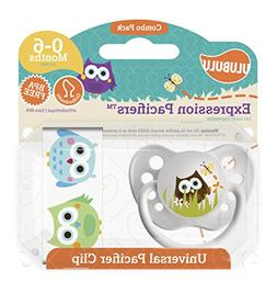 Ulubulu Owl Pacifier with Universal Pacifier Clip, 0-6 month