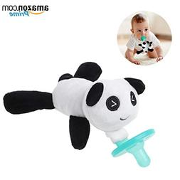 Baby Pacifier with Animal Attached - Stuffed Panda Bear Soot