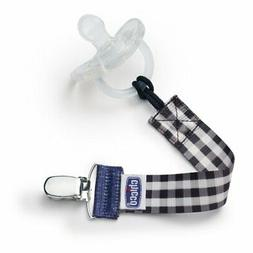 Chicco Fashion Pacifier Clip - Black Gingham