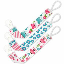Pacifier Clip Girls by Liname - 3 Pack - Premium Quality Uni