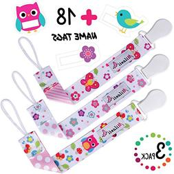 Pacifier Clip for Girls, Pack of 3 by Milanti + 18 Name Tags