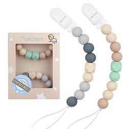 Pacifier Clip Baby Boys Silicone Paci Clip Teething Relief T