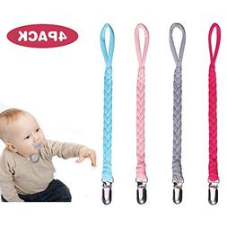Pacifier Clip,Lonrun 4Pack Baby Pacifier Holder, Soft Flexib