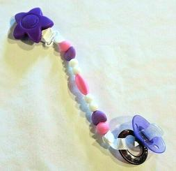 Pacifier Clip for Baby Girl, Silicone w/Teething Beads