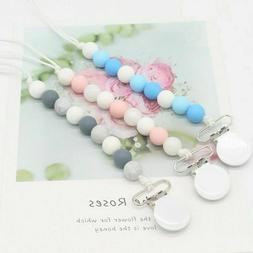 Pacifier Clip Silicone Teething Beads Teether Holder Baby Sh