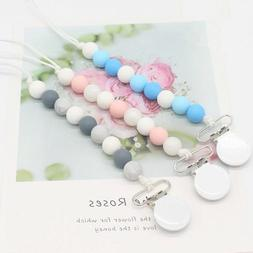 Pacifier Clip Silicone Teething Beads Teether Holder for Gir