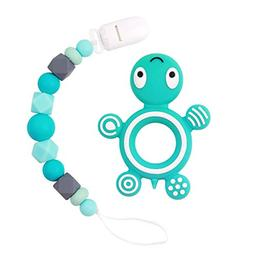MCGMITT Pacifier Clip with Turtle Teether Silicone, Baby Tee