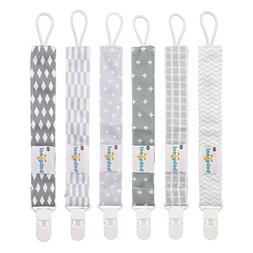 Babygoal Pacifier Clips for Boys, 6 Pack Pacifier Holder Fit