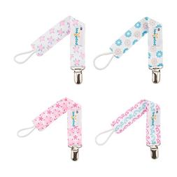 Babygoal Pacifier Clips for Girls, 4 Pack Pacifier Holder Fi