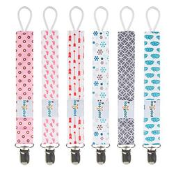 Babygoal Pacifier Clips, 6 Pack Pacifier Holder for Boys and