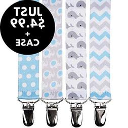 Pacifier Clips Holder for Boys + Pacifier Case by Bubble Ple