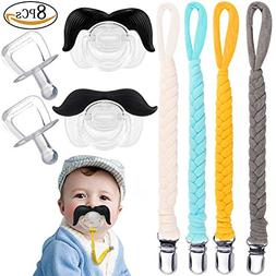 UniBetter Pacifier Clips with Mustache Pacifier Teething Toy