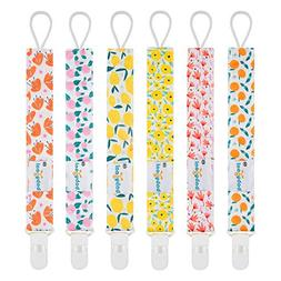 Babygoal Pacifier Clips for Girls, 6 Pack Pacifier Holder Fi