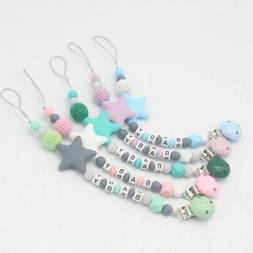 Pacifier Clips Silicone Teething Beads Holder for Baby Girls