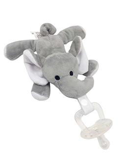 Maawu Baby Pacifier Elephant Toy. Clip Holder Animal Attache