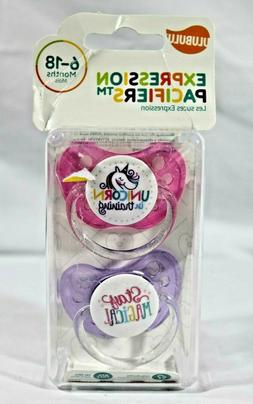 Ulubulu Pacifier Set for Girls - Unicorn & Magic - 6-18 mont