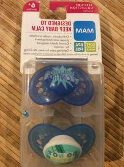 MAM PACIFIERS ATTITUDE COLLECTION WITH TRAVEL CASE NEW