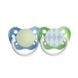 Ulubulu Pacifiers - 6-18 months - Blue Argyle & Green Chevro