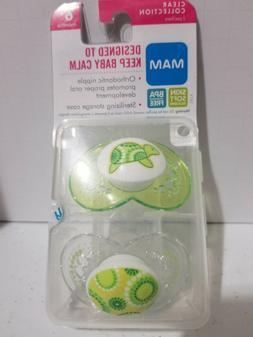 MAM PACIFIERS CLEAR COLLECTION GREEN 6+ MONTHS WITH TRAVEL C