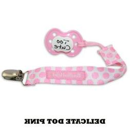 PaciGrip - Universal Pacifier Holder with Clip, Delicate Dot