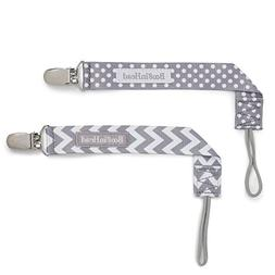 BooginHead PaciGrip Pacifier Clip, 2 Pack, Grey White Chevro