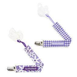BooginHead PaciGrip Pacifier Clip 2 Pack Purple Gingham