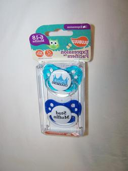 Package of 2 Expression Orthodontic Pacifiers for Boy; 6-18
