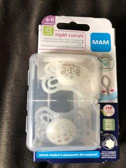 MAM PERFECT NIGHT 0-6 Months Unisex 2 Pack Orthodontic Pacif