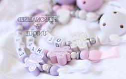 personalised baby wooden dummy clip pacifier chain
