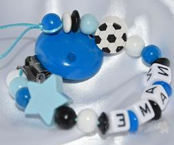 Personalised Wooden Dummy Clip/Chain/Strap for Boys * FOOTBA